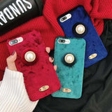 Soft Fabric Pearl Luxury Winter Jewelry Silicone Designer iPhone Case - AshleySale