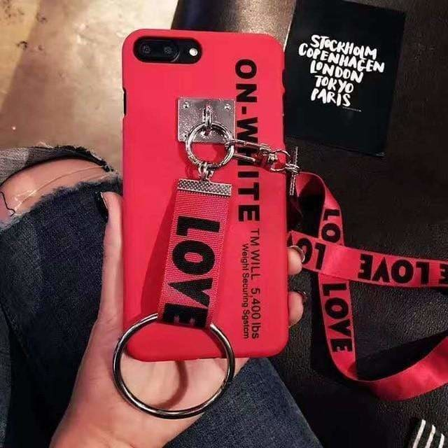 Street Off White OW Style Silicone Designer iPhone Case With Lanyard - AshleySale