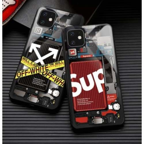 SUPREME STYLE TEMPERED GLASS DESIGNER IPHONE CASE FOR IPHONE