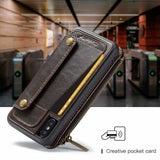 Zipper Pocket Credit Card Slots Detachable Kickstand Genuine Leather W - AshleySale
