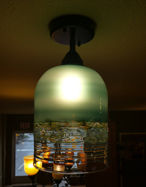 Extra Large Lake Green Handblown Pendant Light