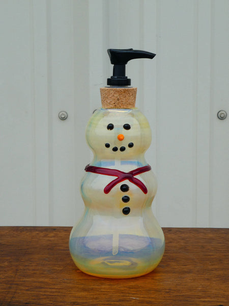 Blown Glass Snowman Soap Dispenser