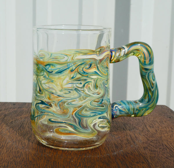Handblown Glass Mug Teal and Amber Swirls