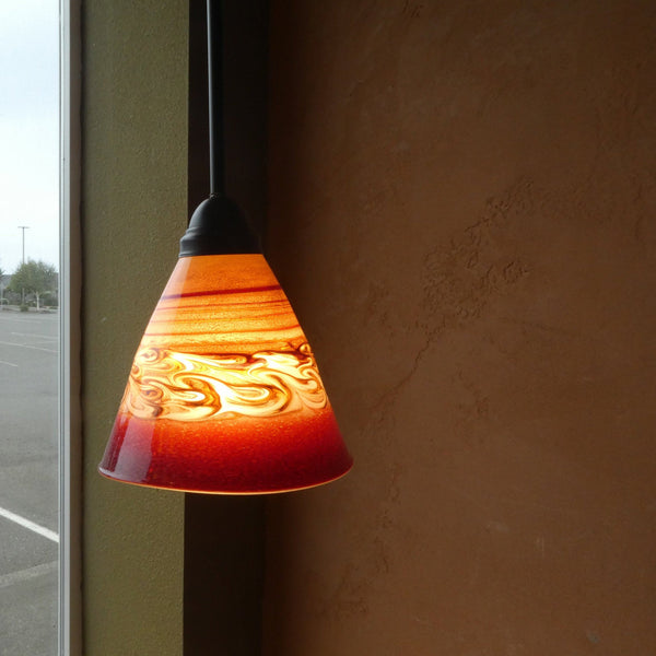 Handblown Red Glass Pendant Light with Swirls