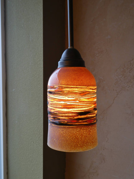 Handblown Glass Pendant Light Agate Pattern