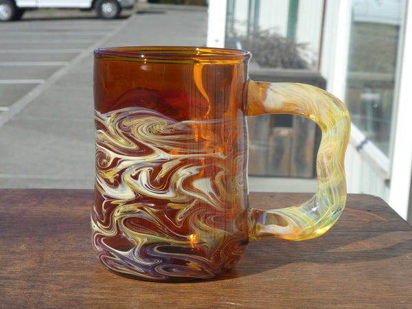 Handblown Amber Glass Beer Mug
