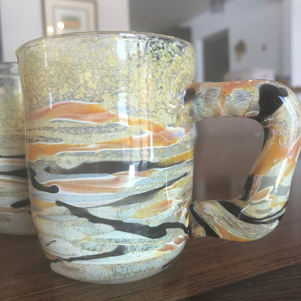 Handblown Glass Mug: Agate Pattern