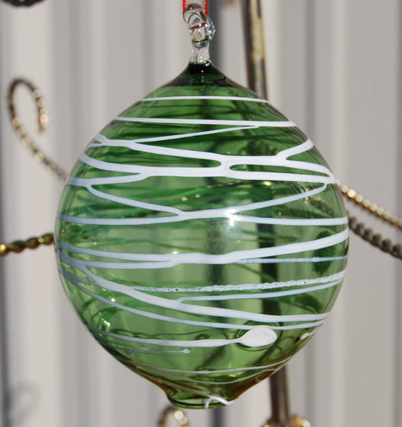 Handblown Green Glass Christmas Ornament with White Lines