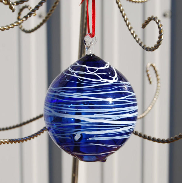 Cobalt Handblown Glass Christmas Ornament