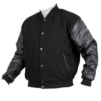 PR3676 Black Varsity/Baseball Letterman Jacket Wool Body & Leather Sleeve