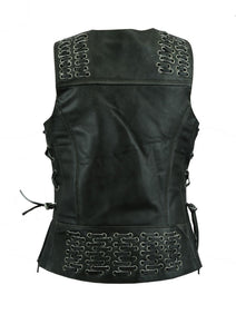 DS285V Women's Gray Vest with Grommet and Lacing Accents