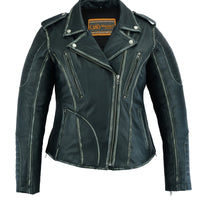 DS877 Women's M/C Jacket with Rub-Off Finish