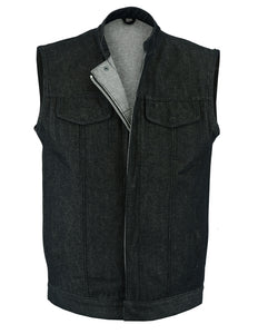 DM977 Men's Rough Rub-Off Raw Finish Denim Vest