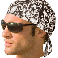 HW2685 Headwrap White Skulls