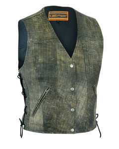 DS207 Women's Antique Brown Single Back Panel Concealed Carry Vest