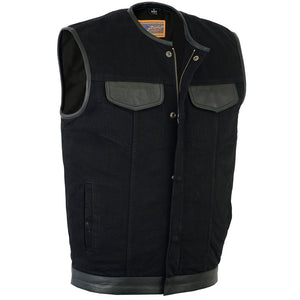 DM991 Men's Black Denim Single Panel Concealment Vest W/Leather Trim-
