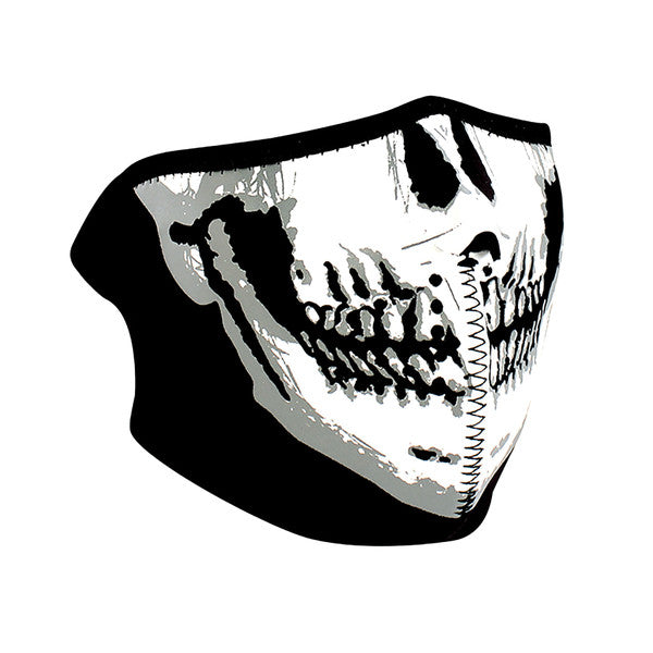 WNFM002HG ZAN® Half Mask- Neoprene- Skull Face- Glow in the Dark