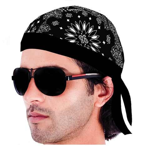 HW2605 Headwrap Paisley Lined Black