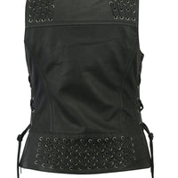 DS285 Women's Vest with Grommet and Lacing Accents