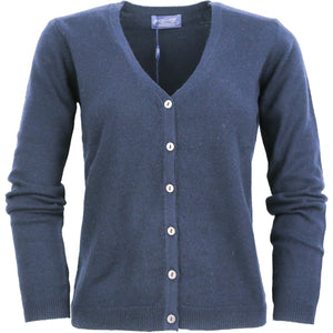 LADIES FULL BUTTON CARDY WITH DROPPED V NECK