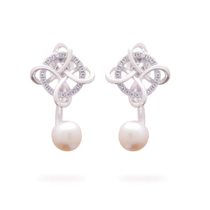 925 Sterling Silver White Gold Plated Pearl Stud Earrings for Women and Girls