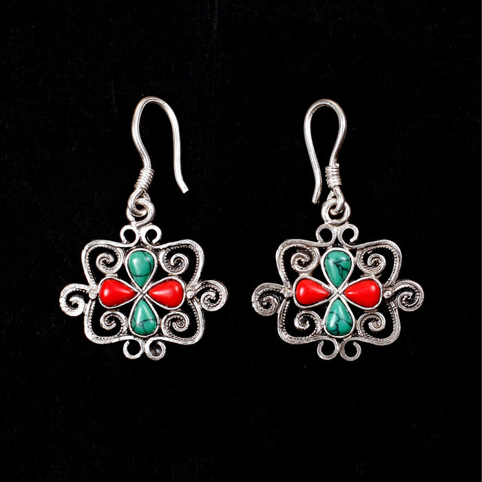 Silver Earrings with Coral