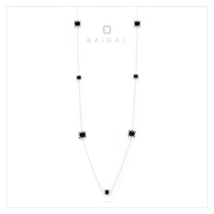 925 Sterling Silver White Gold Platted with Black Onyx Necklace for Women and Girls