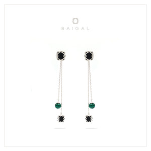 925 Sterling Silver with Black Onyx Malachite White Gold Plated Dangle Earrings for Women and Girls