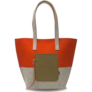 Merino Wool Tote Bag with Leather Strap for Women