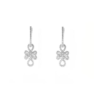 Sterling Silver Zircon Dangle Earrings White Gold covered