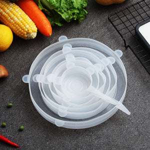 WORTHBUY 6 Pcs/Set Food Silicone Cover Universal Silicone Lids