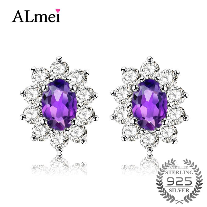 Almei 1ct Amethyst Bridal Stud Earrings for Women 925 Sterling Silver Princess Diana William Fine Jewelry with Box 10% CR002 (Purple)