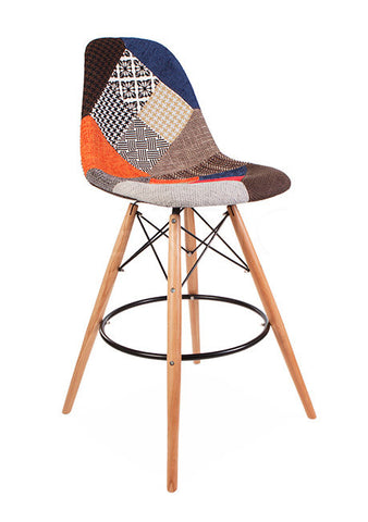 Eamesy Style DSW Bar Stool Patchwork Round Base Natural