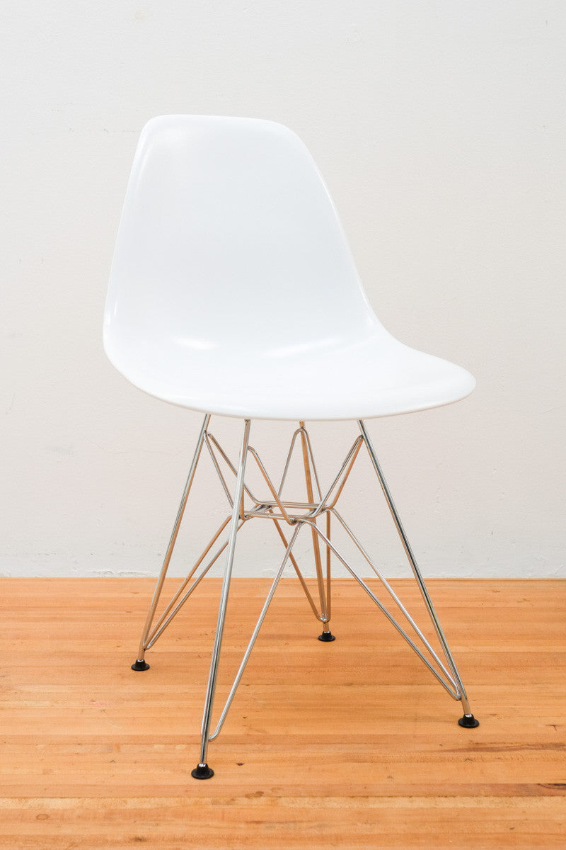 eamesy style side chair satin wire base chrome