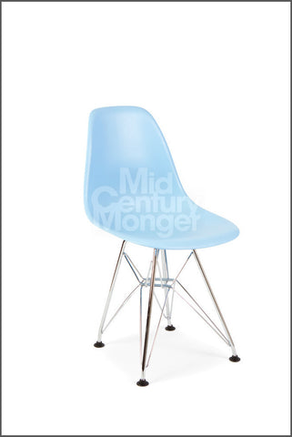 Baby Eamesy Style Side Chair Semigloss Wire Base Chrome