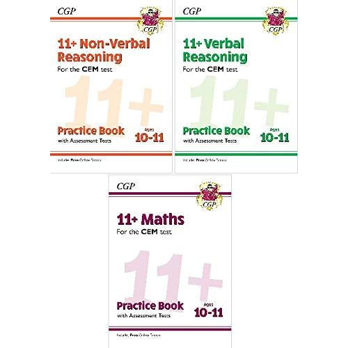 11+ For CEM Test NEW Practice Book & Assessment Tests 3 Books Collection Set AGE 10-11 Include Free Online Edition - The Book Bundle