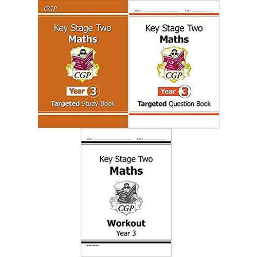 KS2 Year 3 Maths Targeted & Workout 3 Books Collection Set ( Targeted Study Book ,Targeted Question Book,Workout ) - The Book Bundle