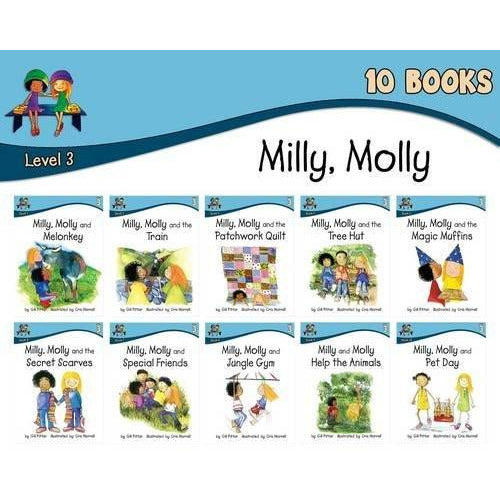 Milly Molly: Level 3 - 10 Books Collection (Milly Molly and Melonkey, Milly Molly and the Train, Milly Molly and the Patchwork Quilt, Milly Molly and the Tree ... Molly and the Secret Scarves