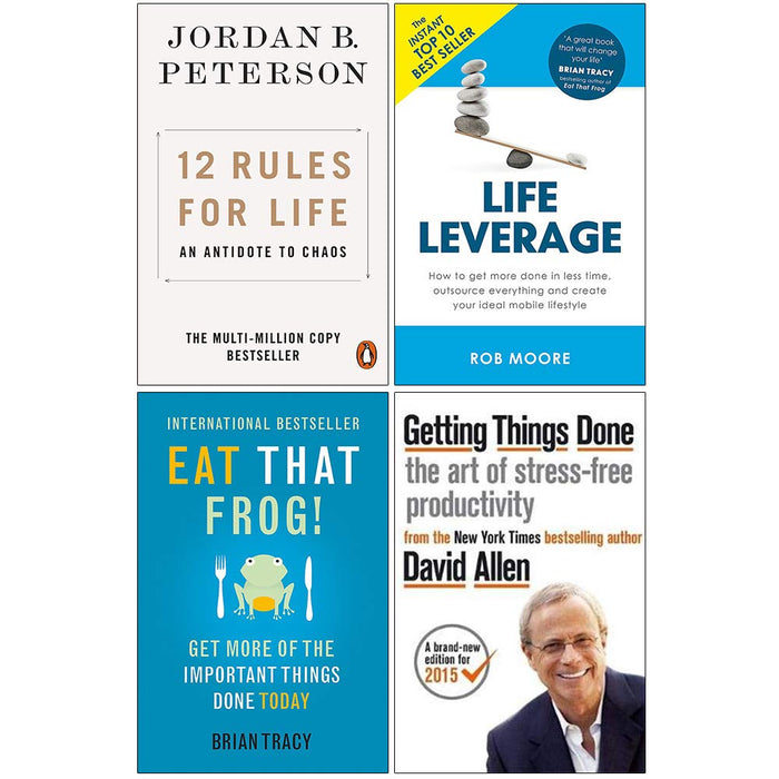 12 Rules for Life, Life Leverage, Eat That Frog, Getting Things Done 4 Books Collection Set - The Book Bundle
