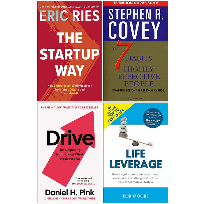 The Startup Way, 7 Habits of Highly Effective People, Drive Daniel Pink, Life Leverage 4 Books Collection Set - The Book Bundle