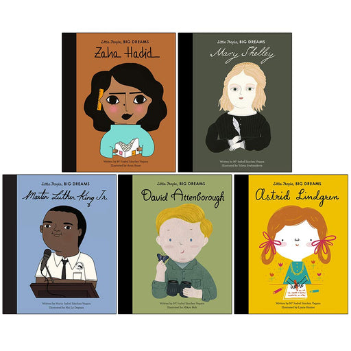 Little People Big Dreams Series 7 Collection Books Set Book 31 To 35 (Zaha Hadid, Mary Shelley, Martin Luther King Jr, David Attenborough, Astrid Lindgren) - The Book Bundle