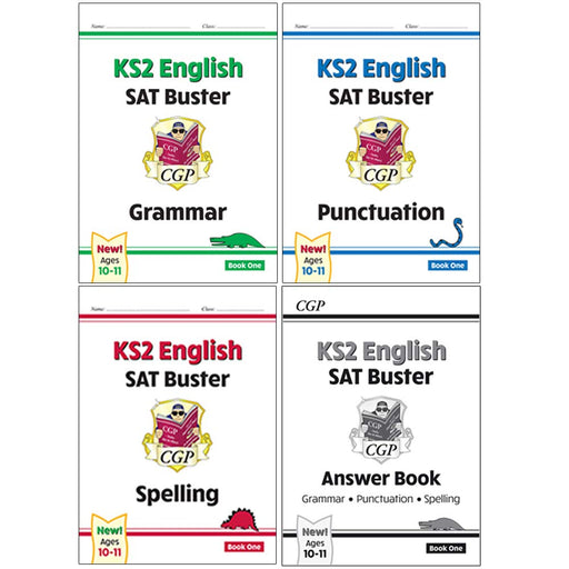 CGP KS2 English SAT Buster Grammar, Punctuation Book, Spelling Book, Grammar, Punctuation and Spelling Answer Book 4 Books Collection Set - The Book Bundle