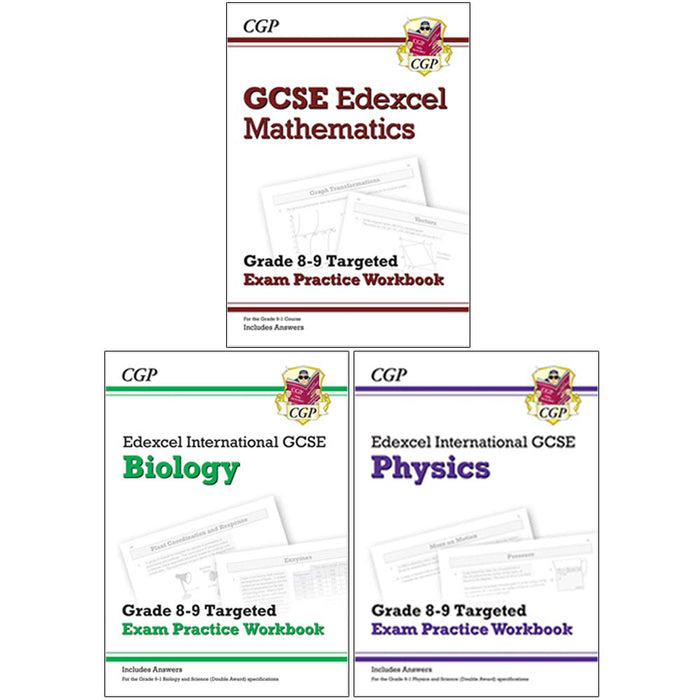 CGP Edexcel International GCSE Maths, Biology, Physics 3 Books Collection Set - Grade 8-9 Targeted Exam Practice Workbook - The Book Bundle
