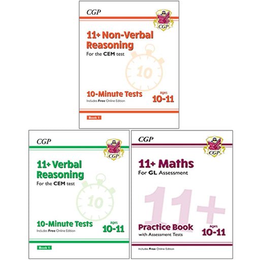 CGP CEM 11+ 10-Minute Tests Verbal, Non Verbal Reasoning, Maths Practice Book 3 Books Collection Set - The Book Bundle