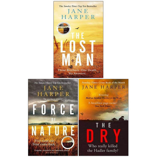 Jane Harper Collection 3 Books Set (The Lost Man [Hardcover], Force of Nature, The Dry) - The Book Bundle