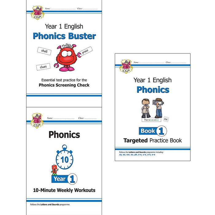 New ks1 english phonics 3 books collection set (phonics screening check, 10-minute weekly workouts, targeted practice book) - The Book Bundle