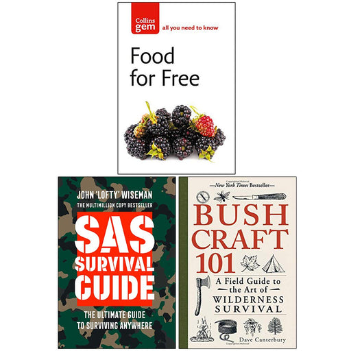 Food For Free, SAS Survival Guide, Bushcraft 101 Collection 3 Books Set - The Book Bundle