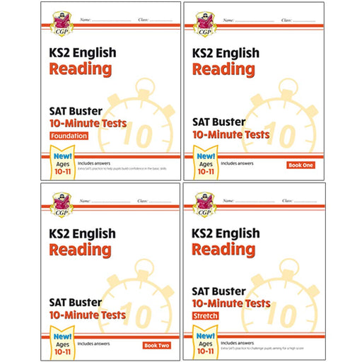 CGP New KS2 English SAT Buster 10-Minute Tests Reading Foundation, Reading Book 1 & 2, Reading Stretch 4 Books Collection Set - The Book Bundle