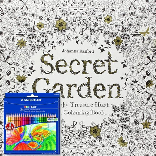 Johanna Basford Secret Garden An Inky Treasure Hunt and Colouring Book with free olouring Pencils - The Book Bundle