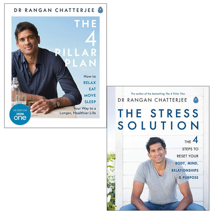 Rangan chatterjee 4 pillar plan, the stress solution 2 books collection set - The Book Bundle